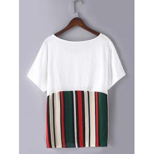 Casual Plus Size Pocket Hit Color Striped T-Shirt -