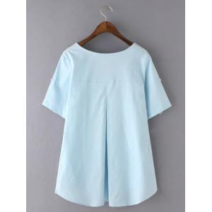 Sweet Plus Size High-Low Hem Pocket Design Blouse - LIGHT BLUE 3XL