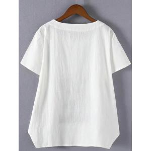 Brief Plus Size Embroidered Asymmetrical T-Shirt -