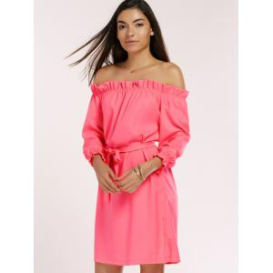 Off The Shoulder Ruffled Belted Neon Dress -