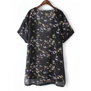 Plus Size Bird Print High Low Hem Kimono -