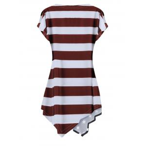Casual Round Neck Short Sleeve Striped Back Dress -