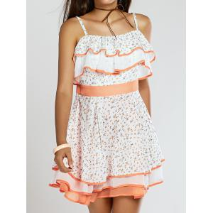 Stylish Women's Print Ruffled Tiered Cami Dress -