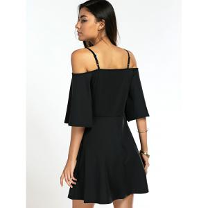 Stylish Spaghetti Straps Black Dress For Women - BLACK XL