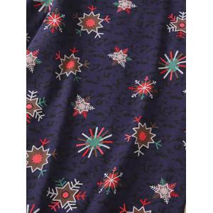 Trendy Plus Size Snowflake Print Spliced Dress - COLORMIX 3XL