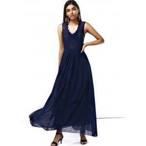 Lace Chiffon Sleeveless A Line Full Length Prom Dress -
