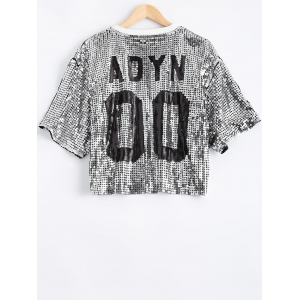 Lip Graphic Sequined Cropped T-Shirt -