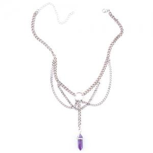 Stylish Silver Plated Multilayered Link Chain Faux Amethyst Choker For Women - SILVER