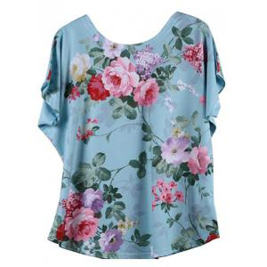 Looses-Fitting Bat Sleeve Floral Figure Print T-Shirt -