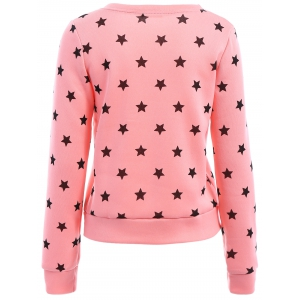Sweet Style Round Collar Long Sleeve Stars Print Women's Sweatshirt - PINK L