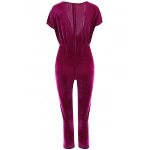 Women's Stylish Plunging Neck Short Sleeve Jumpsuit -