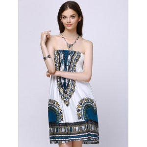 Exotic Strapless Tribal Pattern Dress -
