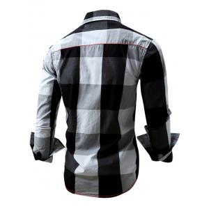 Turn-Down Collar Plaid Pattern Long Sleeve Shirt For Men - BLACK 2XL