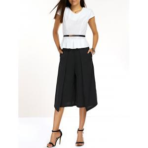 OL Style Pleated Blouse + Palazzo Twinset For Women -