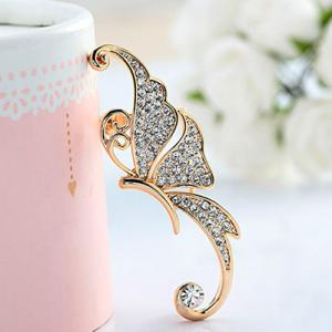 One Piece Rhinestone Butterfly Ear Cuff - WHITE