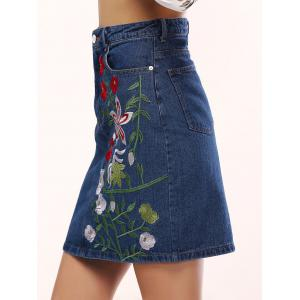 Chic Women's Floral Embroidery Denim Skirt -