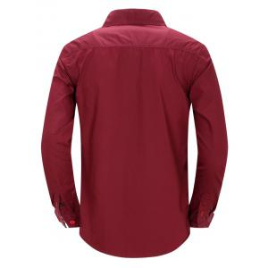Turn-Down Collar Double Button Design Long Sleeve Shirt For Men -