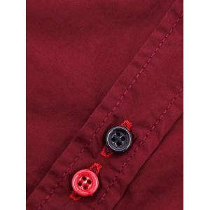 Turn-Down Collar Double Button Design Long Sleeve Shirt For Men - WINE RED 2XL