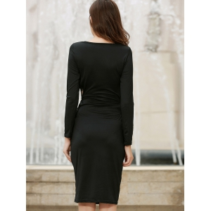 Stylish Long Sleece Solid Color Cut Out Lace-Up Bodycon Dress For Women - BLACK S