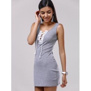 Lace Up Bodycon Tank Dress -