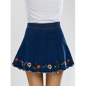 Stylish Scalloped Floral Embroidered Women's Denim Skirt -