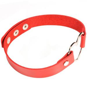 PU Leather Heart Choker Necklace - RED