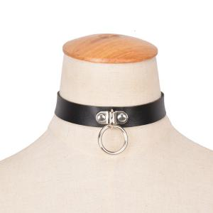 Vintage Faux Leather Circle Alloy Choker Necklace -