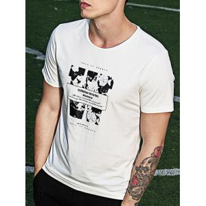 Round Neck Letters Print Splicing Short Sleeve T-Shirt For Men -
