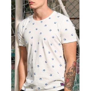 Round Neck 3D Geometric Print Short Sleeve T-Shirt For Men -