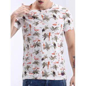 Round Neck 3D Leaves and Animal Print Short Sleeve T-Shirt For Men -