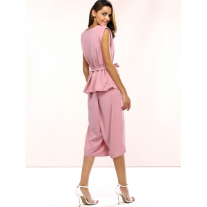 Belted Peplum Top and Palazzo Pants - LIGHT PINK XL