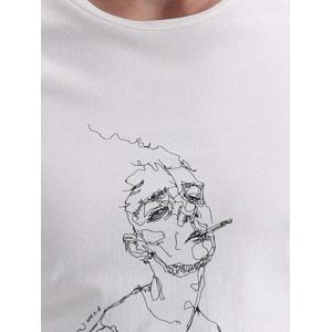 Round Neck Letters and Cartoon Print Fashion Short Sleeve T-Shirt For Men -