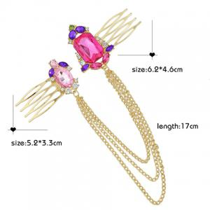 Vintage Rhinestone Chains Hair Comb For Women -