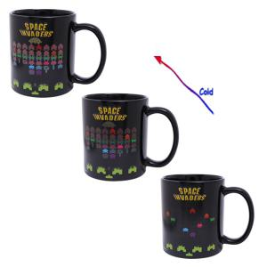 Amazing Space Invader Game Pattern Ceramic Heat Sensitive DIY Color Changing Mug For Gifts - BLACK