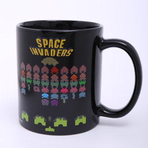 Amazing Space Invader Game Pattern Ceramic Heat Sensitive DIY Color Changing Mug For Gifts -