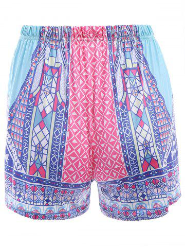 Chic Ethnic Style Elastic Waist Colorful Printed Women's Shorts - XL COLORFUL Mobile