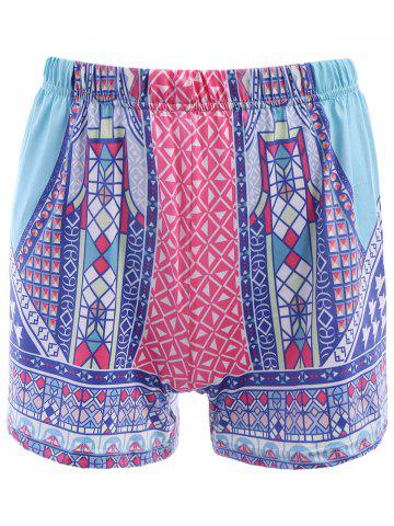 Sale Ethnic Style Elastic Waist Colorful Printed Women's Shorts - XL COLORFUL Mobile