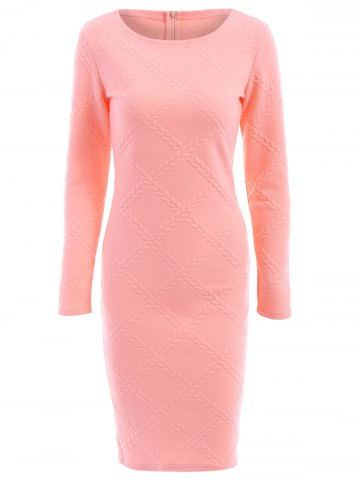 Best Graceful Round Collar Long Sleeve Pink Printed Bodycon Midi Dress For Women