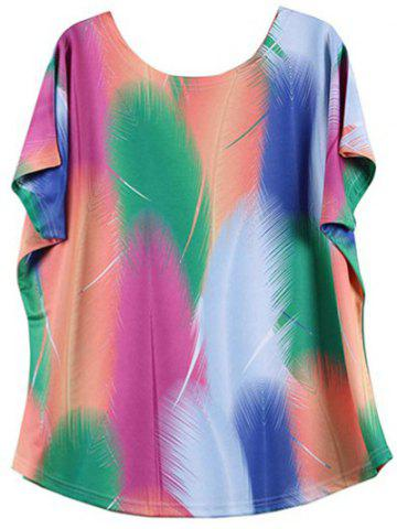 Looses-Fitting Bat Sleeve Colorized Feather Print Baggy T-Shirt - M