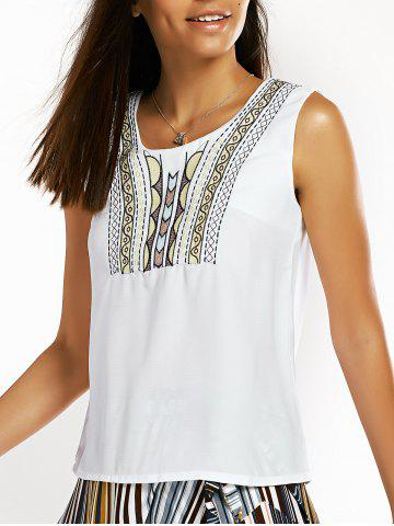 Cheap Ethnic Style Sleeveless Embroidered Keyhole Women's T-Shirt