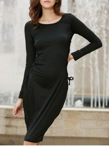 Affordable Stylish Long Sleece Solid Color Cut Out Lace-Up Bodycon Dress For Women BLACK S