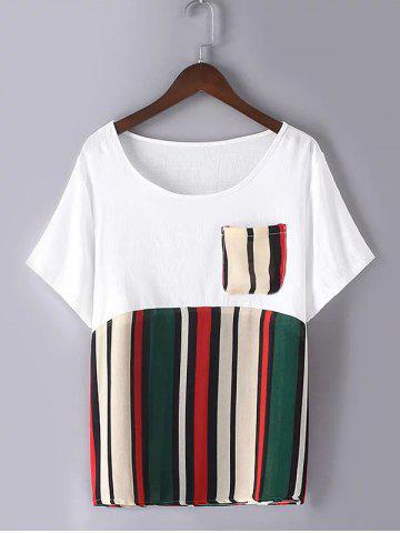 Affordable Casual Plus Size Pocket Hit Color Striped T-Shirt