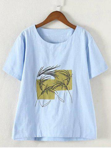 Sale Refreshing Plus Size Embroidered Appliqued T-Shirt