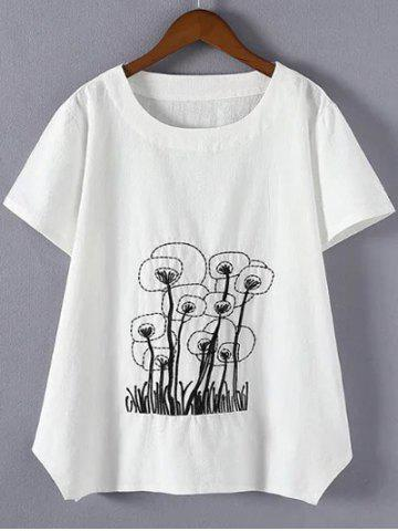 4XL WHITE Plus Size Embroidered Asymmetrical T Shirt