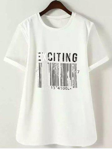 4XL WHITE Plus Size Bar Code Pattern Organza Patchwork T Shirt