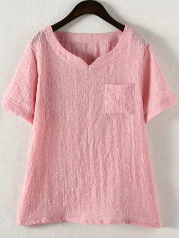 4XL PINK Plus Size Solid Color Single Pocket T Shirt