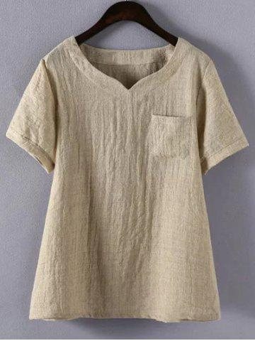 4XL KHAKI Plus Size Solid Color Single Pocket T Shirt