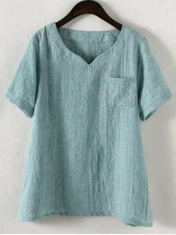 4XL LAKE BLUE Plus Size Solid Color Single Pocket T Shirt