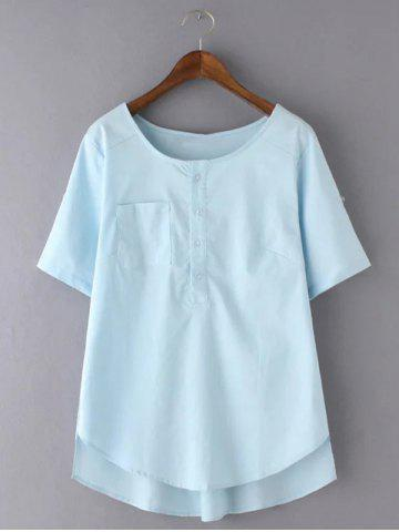 Hot Sweet Plus Size High-Low Hem Pocket Design Blouse LIGHT BLUE 3XL