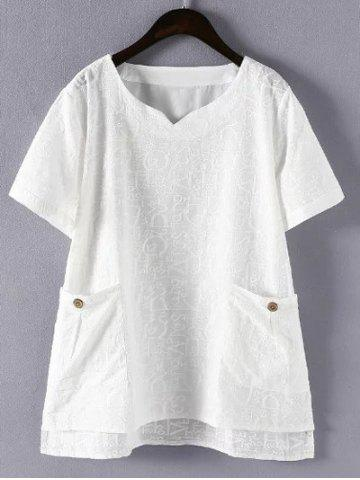 4XL WHITE Plus Size Letter Embroidered Pockets Design Blouse